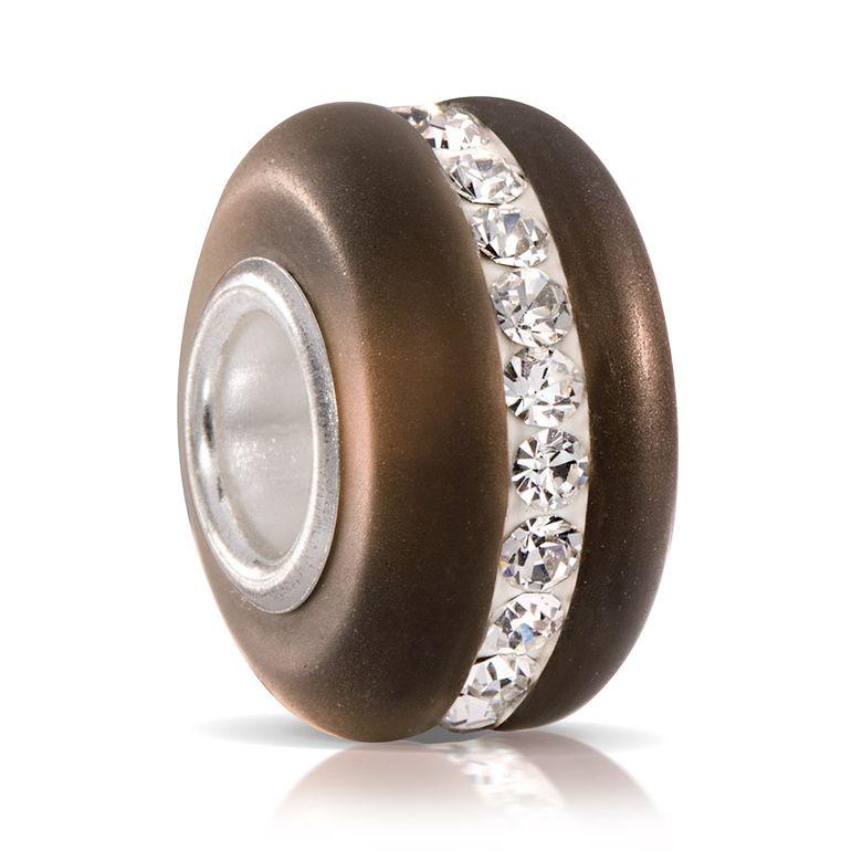 MATERIA Muranoglas Bead braun mit facettierten Kristallen - 925 Silber Strass Element aus gefrostetem Glas 629