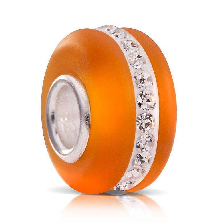 MATERIA Muranoglas Bead hell orange mit facettierten Kristallen - 925 Silber Strass Element aus gefrostetem Glas 651