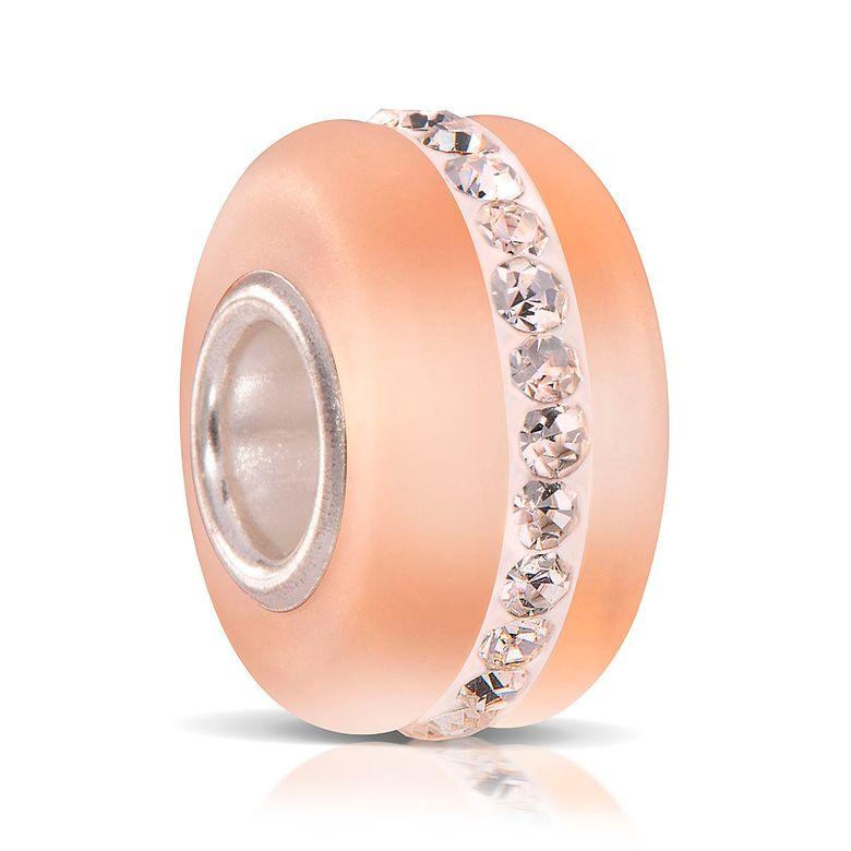 MATERIA Murano Glasperle apricot mit weißen facettierten Kristallen - Strass Beads Anhänger 925 Silber mattiert 842