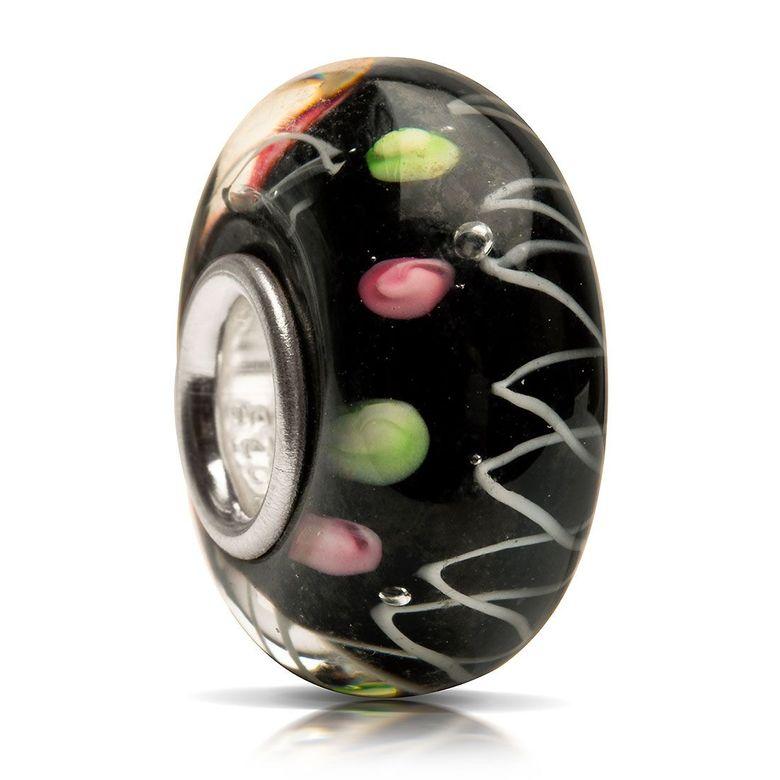 MATERIA Glas Bead Anhänger schwarz zick zack gepunktet - Muranoglas Schmuck Damen 925 Silber für Beads Armband 653
