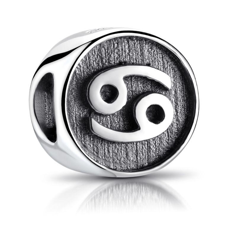 MATERIA Krebs Sternzeichen Beads Silber 925 Anhänger rund antik Damen Herren für Armband oder Kette 585