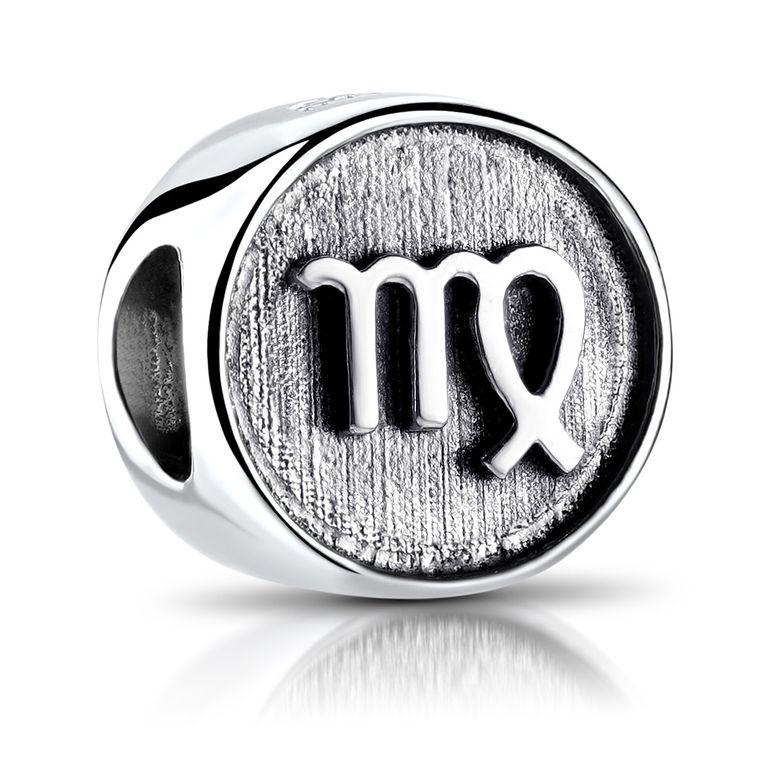 MATERIA Jungfrau Sternzeichen Charm Anhänger 925 Sterling Silber für European Beads Armband Damen Herren 588