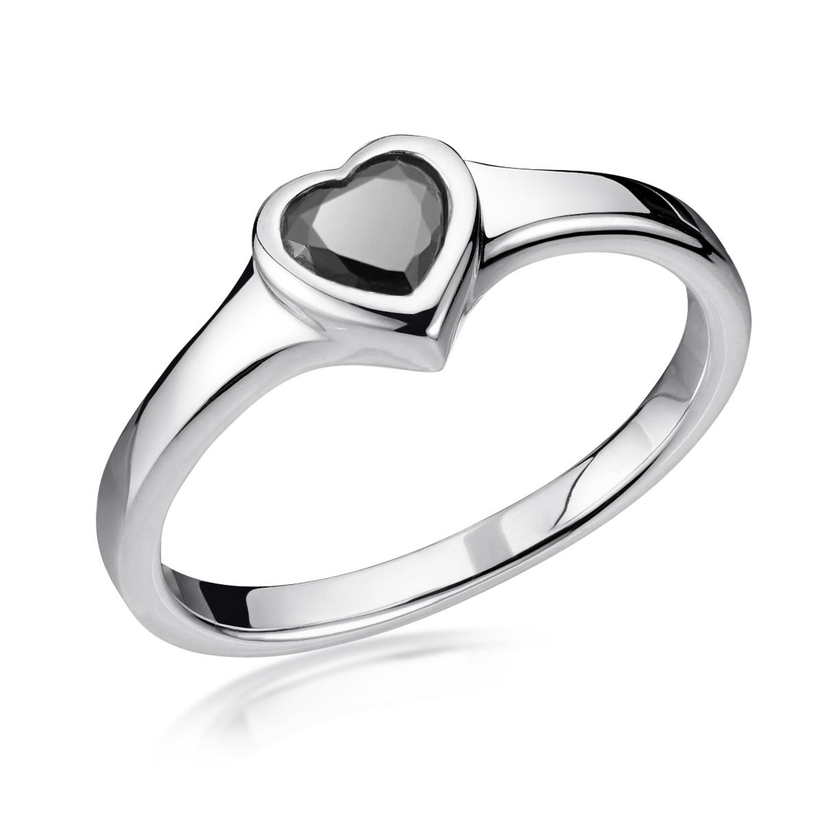 MATERIA Damenring Silber 925 schwarz mit Zirkonia Herz 16-20mm