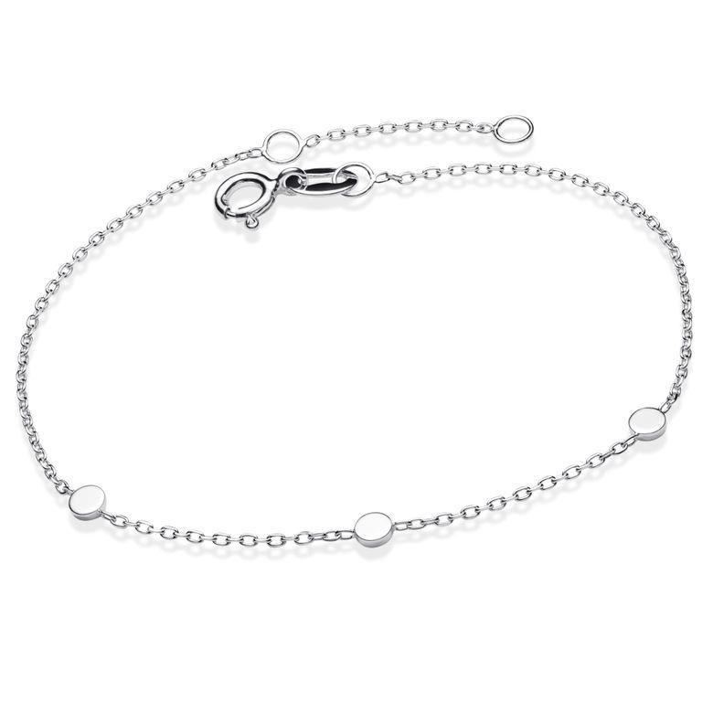 MATERIA Armkette Damen Silber 925 - zartes Armband für Frauen mit runden Plättchen 17 + 2cm Verlängerung in Etui SA-95