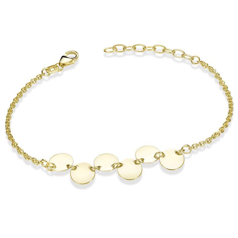 MATERIA Armkette Damen Gold mit Plättchen - Frauen Armband Silber 925 vergoldet 16-19cm SA-97-gold