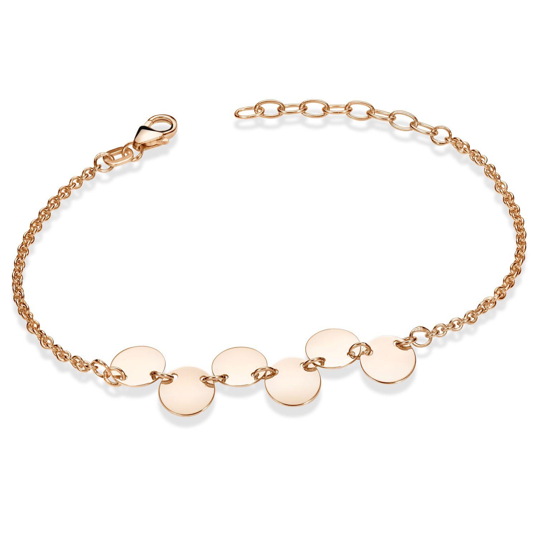 MATERIA Armkette Rosegold Damen 925 Silber mit Plättchen 16-19cm