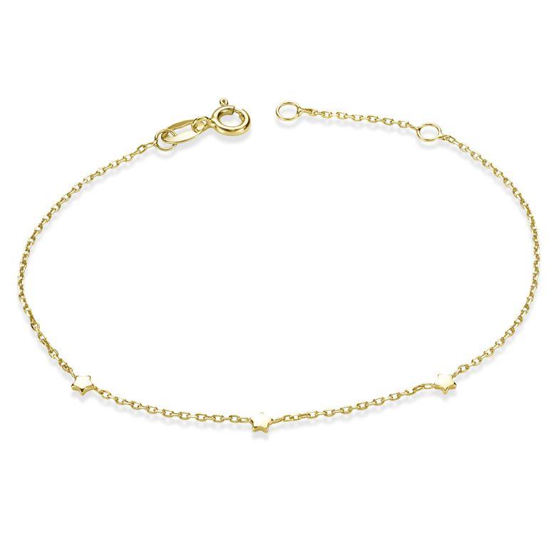 MATERIA Stern Armband Gold für Damen - 925 Silber Armkette vergoldet filigran 16,5cm mit 2cm Verlängerungskette SA-99