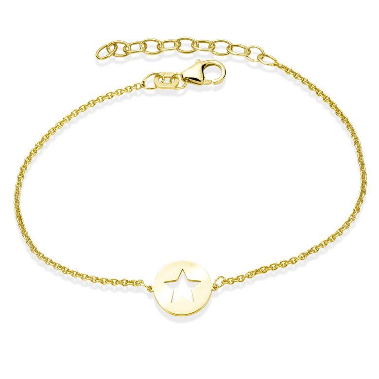 MATERIA Stern Armband Gold Damen Mädchen - Armkette 925 Silber vergoldet 16-18,5cm verstellbar SA-112-gold