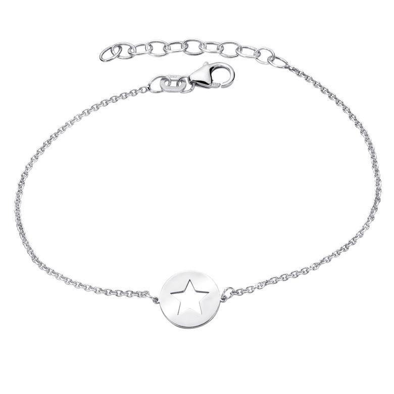 MATERIA Stern Armband Damen 925 Sterling Silber - Armkette rhodiniert 16-18,5cm verstellbar SA-112-silber