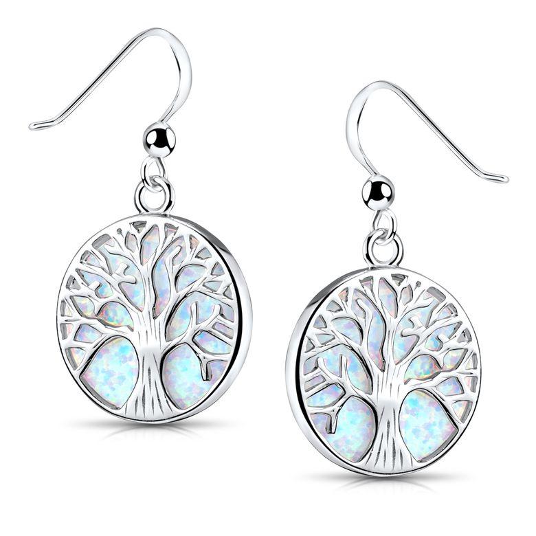 MATERIA Lebensbaum Ohrhänger mit Opal weiß-blau für Damen - Runde Ohrringe aus 925 Sterling Silber SO-405-weiß