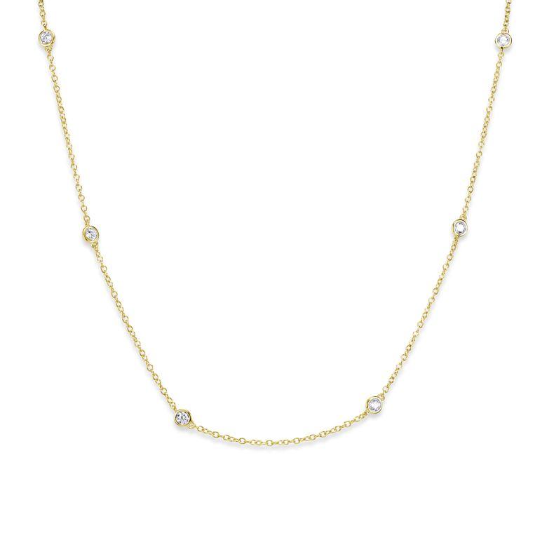 MATERIA Damen Kette Gold 925 Silber mit Zirkonia - Frauen Halskette 42-47cm in Schmuck Box CO-29-Gold