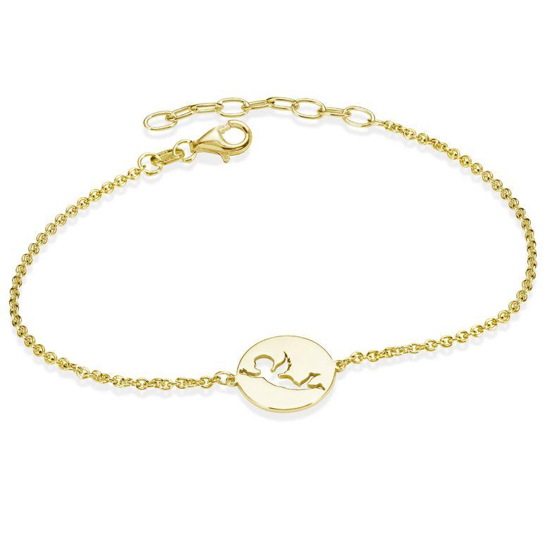 MATERIA Engel Armband Frauen Gold Armkette 925 Silber vergoldet mit Anhänger rund 16-19cm verstellbar SA-115-gold