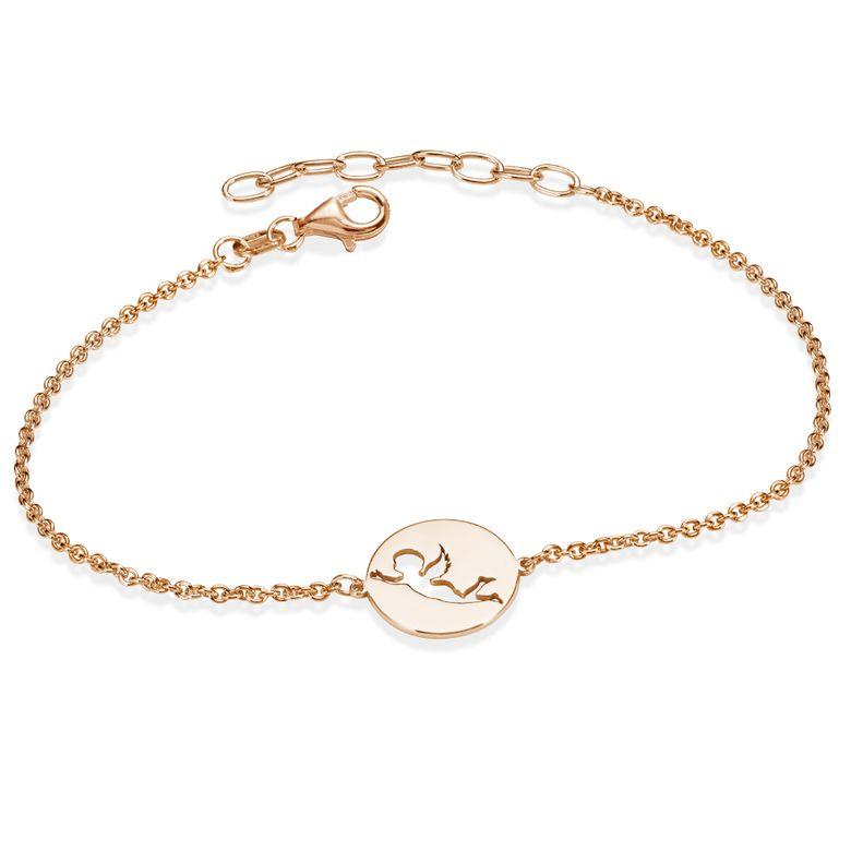 MATERIA Engel Armband Frauen Rosegold Armkette 925 Silber vergoldet mit Anhänger rund 16-19cm verstellbar SA-115-rose