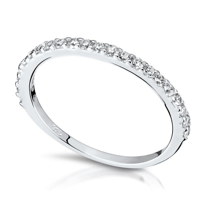 Materia Zirkonia Ring Damen Silber 925 - Stapelringe Stack-Ringe dünn schmal 22 Steine in 16-19mm rhodiniert in Etui