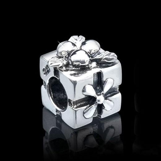 MATERIA 925 Silber Beads antik Geschenk mit Schleife - European Bead Geschenkbox für Beads Armband #1099