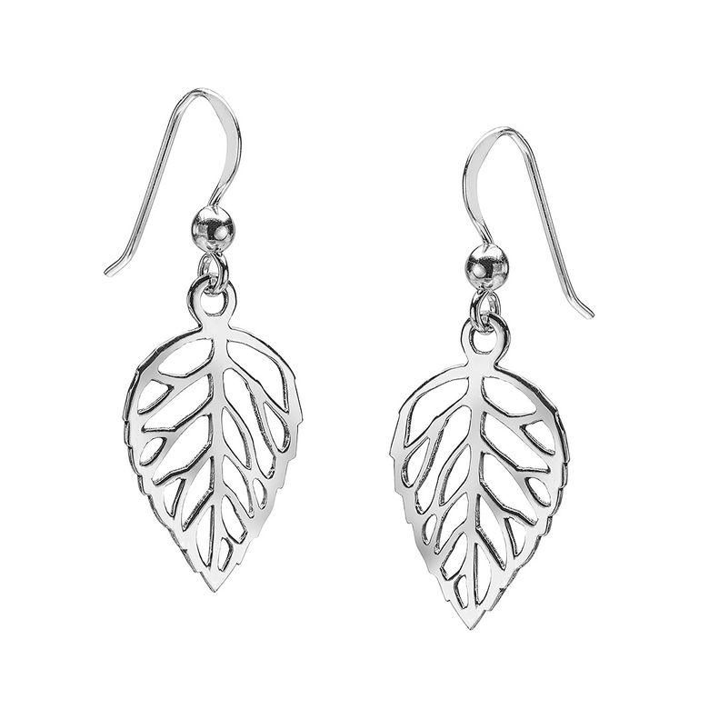 MATERIA Filigrane Blatt Ohrringe Damen Silber 925 - Ohrhänger Blätter Schmuck rhodiniert mit Geschenk-Box SO-17