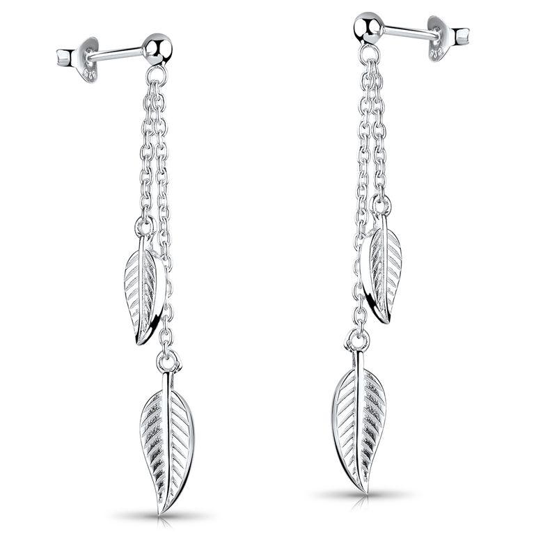 MATERIA Blatt Ohrringe lang hängend mit Kette - Damen Schmuck Blätter Ohrstecker aus 925 Sterling Silber