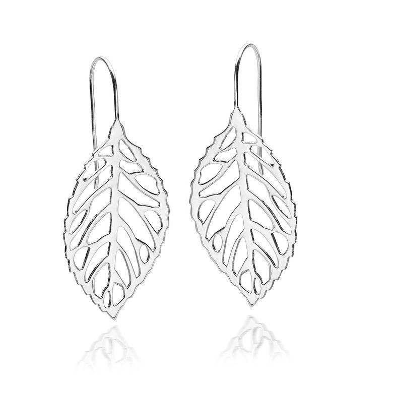 MATERIA Damen Ohrringe Blatt hängend - 925 Sterling Silber Ohrhänger Blätter Schmuck mit Geschenk-Box 45x20mm SO-45