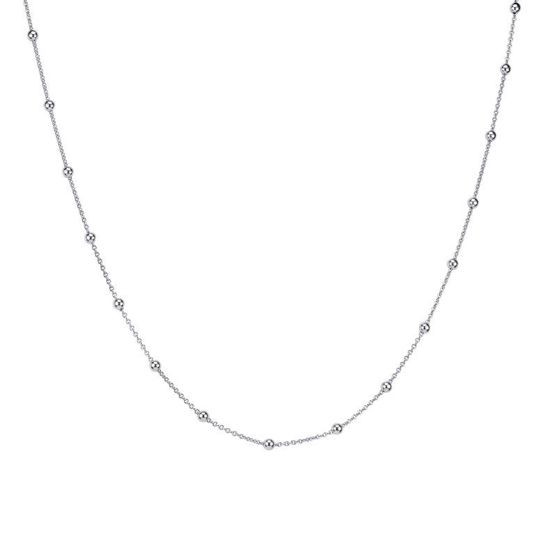 MATERIA Kugel Halskette Damen Silber 925 - Silberkette Kugelkette für Frauen Mädchen 1,3mm in 40 45 50 55 60 70cm