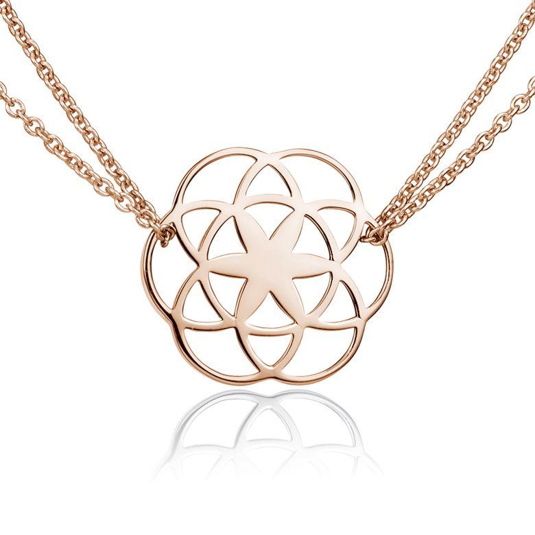MATERIA Damen Kette Lebensblume Rosegold 42-47cm - Blume des Lebens Schmuck 925 Silber vergoldet KA-450-rose