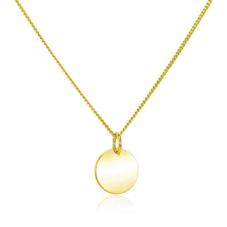 MATERIA Damen Gravur Kette Gold mit rundem Anhänger - Gravurplatte Halskette 42+4cm 925 Silber vergoldet CO-27-Gold