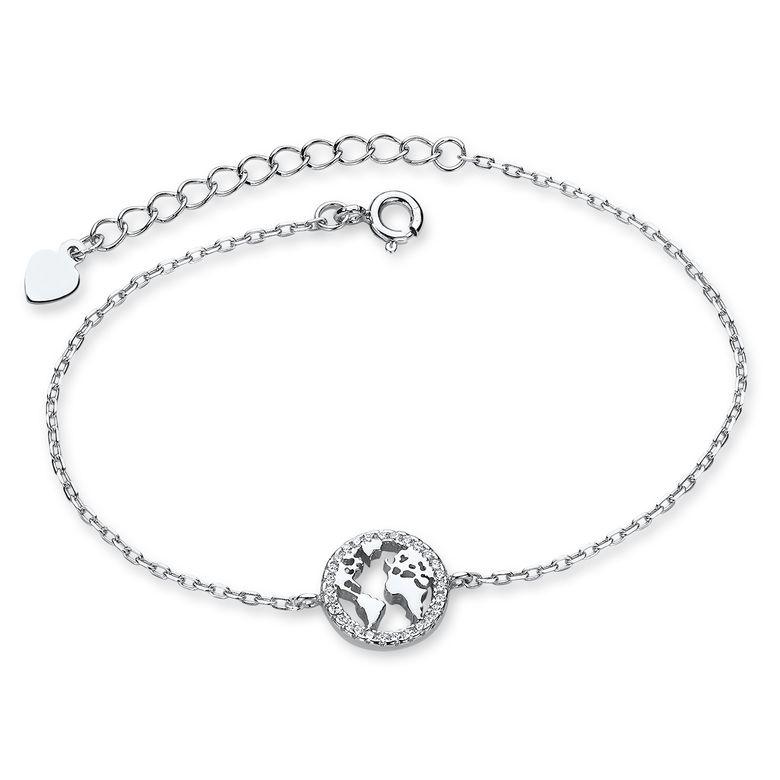 Materia Weltkugel Armband Silber 925 - feine Armkette Globus rund mit Zirkonia 16,5-19cm für Damen Teenager in Etui SA-121