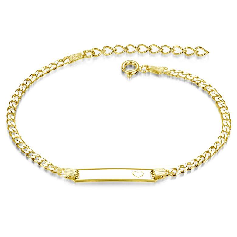 MATERIA Gravur Armband Gold für Frauen - 925 Silber Schildarmband 3mm Armkette mit Wunschgravur vergoldet 17-21 cm in Etui