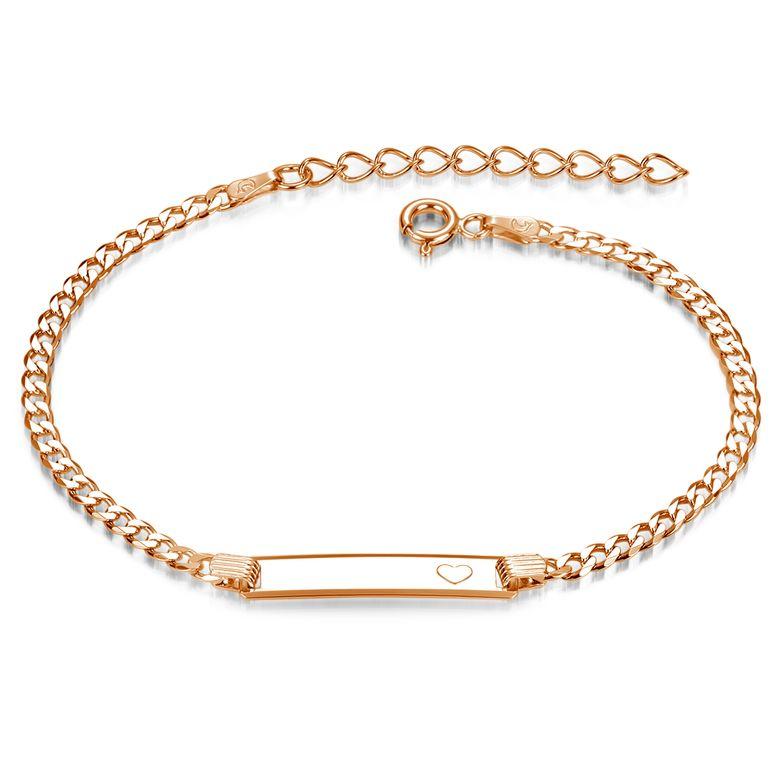 MATERIA Gravur Armband Damen Rosegold - Armkette mit Herz Gravurplatte und Verlängerungskette 17-21cm SA-15-Rose