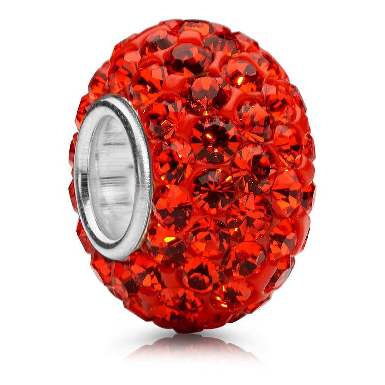 MATERIA Charms Anhänger Beads Perle orange rot aus 925 Silber mit Glitzer Kristall Steinen für Armband oder Kette 1255