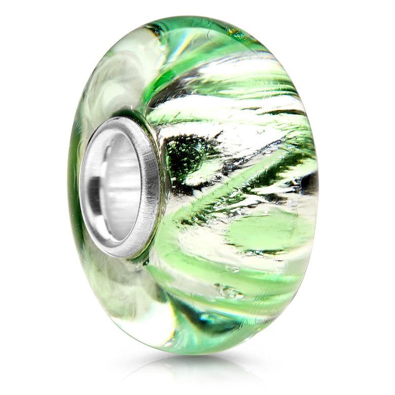 MATERIA Charms Anhänger Glasperle grün silber - Beads Perle Glas mit 925 Silber Hülse für Armband 1344