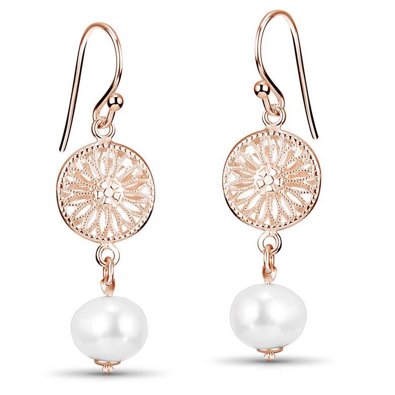 MATERIA Rosegold Damen Ohrhänger lang mit Süßwasserperle - Echte Perlen Ohrringe Silber 925 vergoldet  hängend SO-305-Rose