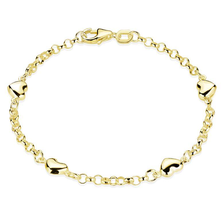 MATERIA Mädchen Armband Gold mit Herzen - 925 Silber Armkettchen Kinder Schmuck vergoldet 15,5cm in Etui SA-108-Gold
