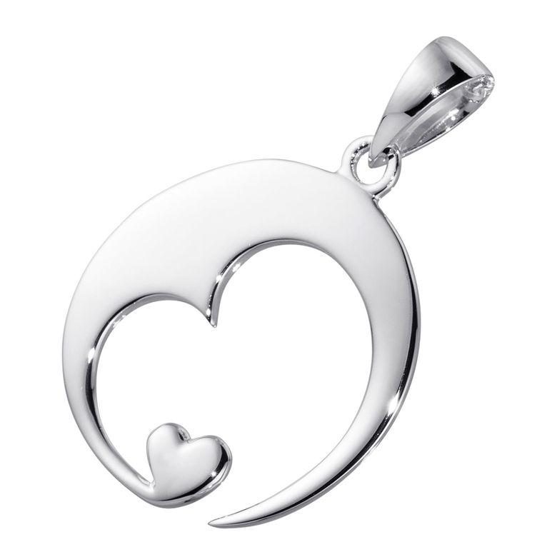 MATERIA Herz Anhänger mit Gravur Schmuck personalisiert - 925 Sterling Silber rhodiniert für Damen mit Geschenk-Box