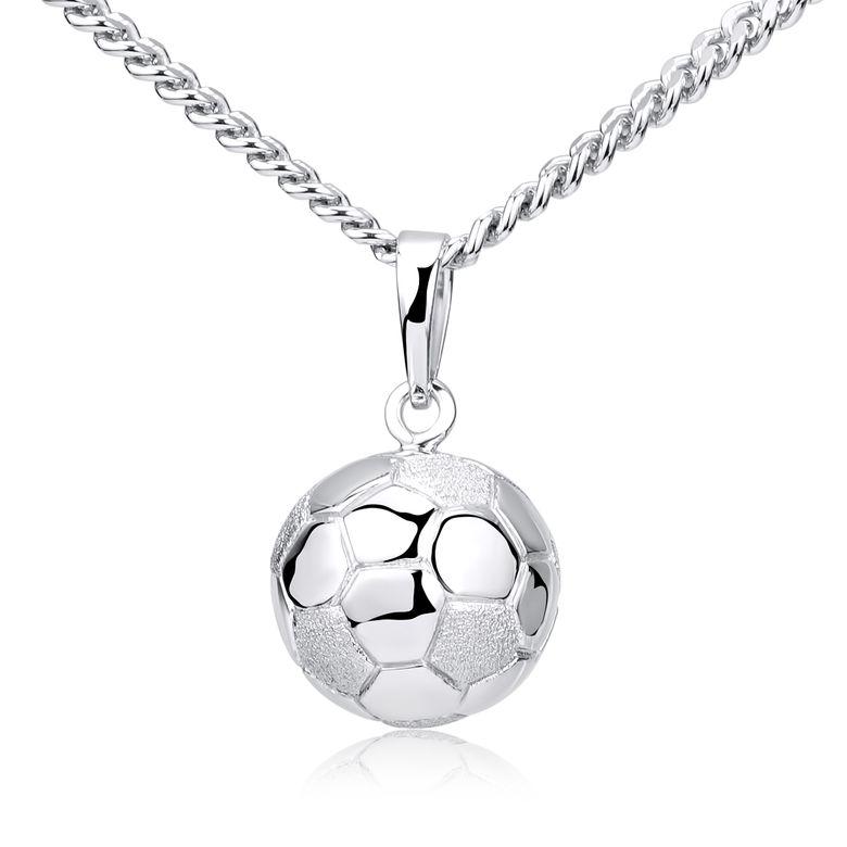 MATERIA Fußball Anhänger für Halskette aus 925 Sterling Silber rhodiniert Herren Schmuck Männer Geschenk KA-461-Silber