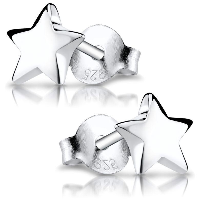 MATERIA Kleine Ohrstecker Stern Silber 925 - Damen Mädchen Ohrringe Stecker mit Geschenk-Box SO-57