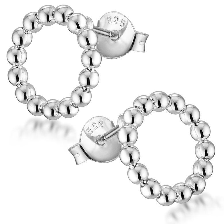 MATERIA Damen Ohrstecker Kreis Silber 925 - Ohrringe rund mit Kugeln 11mm in Schmuck Etui SO-408