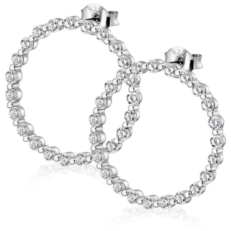 MATERIA Damen Ohrstecker Kreis Silber 925 - Ohrringe Stecker Ringe rund groß offen mit Zirkonia in Etui SO-409