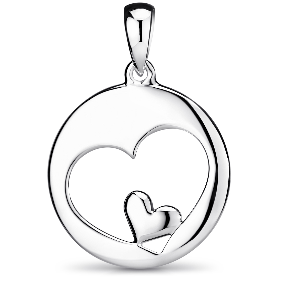 Zirkonia Anhänger weiß MATERIA Damen Kettenhänger Herz Silber 925 gebürstet