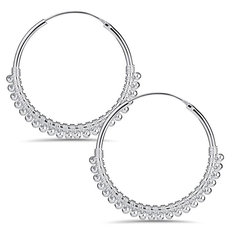 MATERIA Damen Creolen 925 Sterling Silber mit Kügelchen - 20mm Ohrringe Ringe Ohrschmuck SO-419