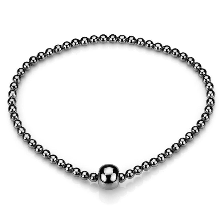 MATERIA Damen Kugel Armband schwarz elastisch - 925 Silber Stretcharmband rhodiniert 17-22cm mit Geschenk-Box SA-86