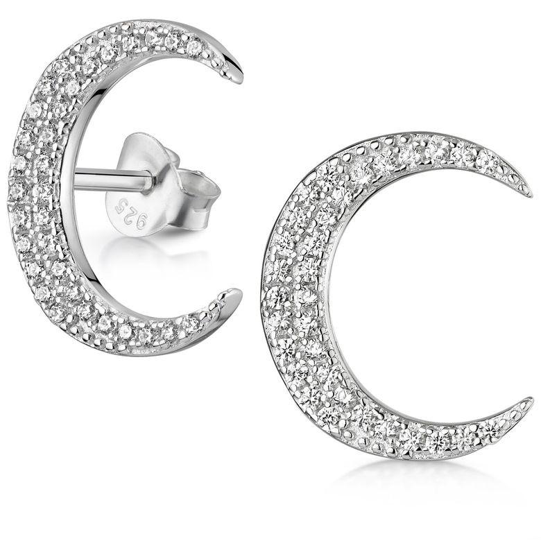 MATERIA Damen Ohrstecker Mond Silber 925 - Halbmond Ohrringe Stecker groß mit Zirkonia Steinen 15 x 12mm SO-412