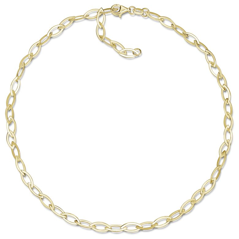 MATERIA Damen Gold Collier Spitz Ankerkette 5mm breit - Frauen Kette 45cm Silber 925 vergoldet CO-43-Gold