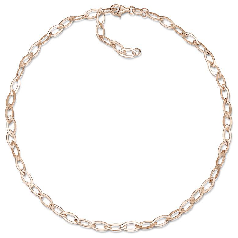 MATERIA Damen Rosegold Collier Spitz Ankerkette 5mm breit - Frauen Kette 45cm Silber 925 vergoldet CO-43-Rose