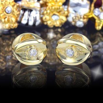 MATERIA 925 Silber Beads Gold Zirkonia Element - Gold Charms mit 2 Zikronia 14k Gold vergoldet #317