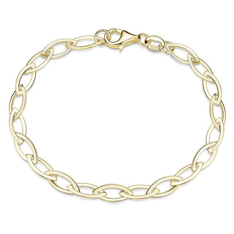 MATERIA Gold Armband 19cm Ankerkette mit breiten Gliedern aus 925 Silber vergoldet Frauen Geschenk SA-130-Gold