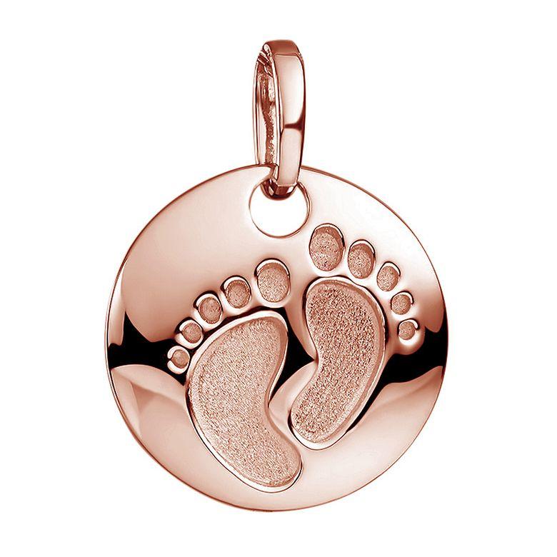 MATERIA Baby Füße Gravur Anhänger Rosegold - Damen Mädchen Geschenk 925 Silber Gold vergoldet