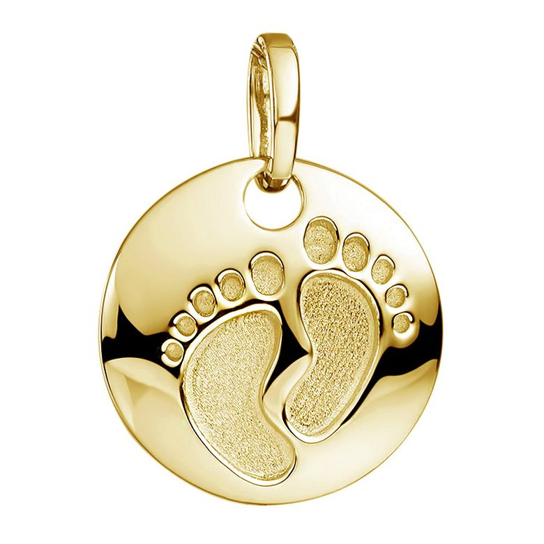 MATERIA Baby Füße Gravur Anhänger Gold - Damen Mädchen Geschenk Schmuck 925 Silber vergoldet