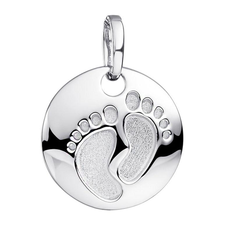MATERIA Baby Füße Anhänger rund wahlweise mit Gravur - 925 Silber Gravurgeschenk zur Geburt Taufe Muttertag für Damen Mädchen rhodiniert