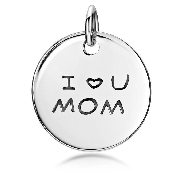 MATERIA Mama Geschenk Geburtstag Muttertag 925 Sterling Silber Anhänger Gravur rund für Halskette KA-269