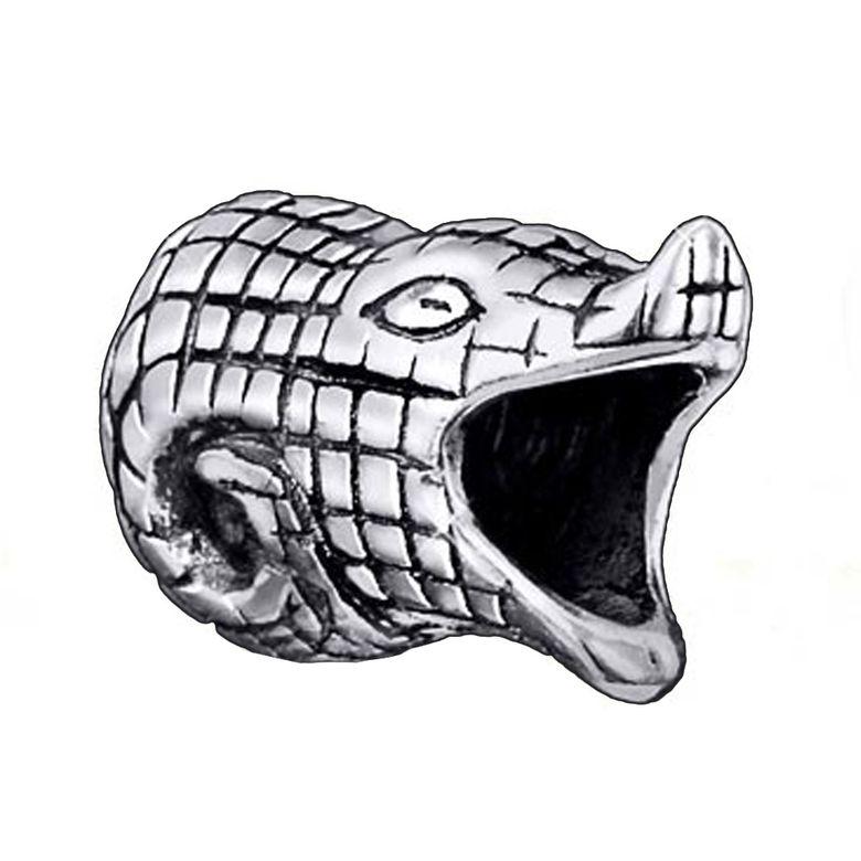 MATERIA Bead Krokodil Tier 925 Sterling Silber antik für Beads Armband oder Kette #47